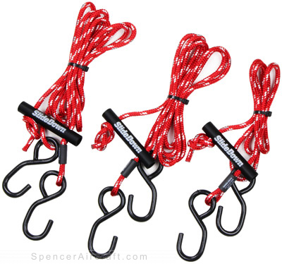 Slide Tie-Down - 1/4 Rope Red/White Set of Three