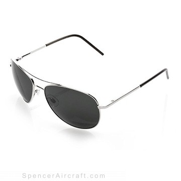 Aviator Sunglasses - Silver Frame Grey Lens & Case