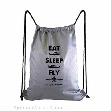 Eat Sleep Fly - Silver Drawstring Backpack