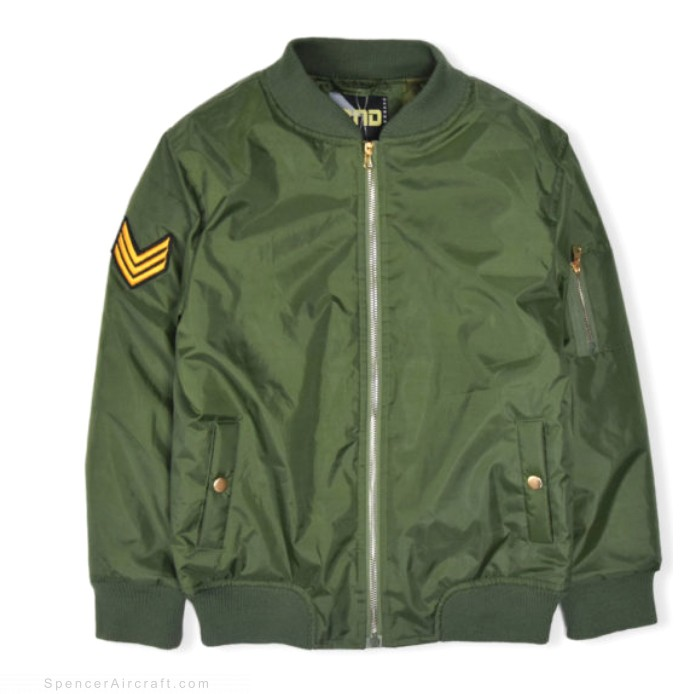 Child Bomber Jacket, Olive Green, 14