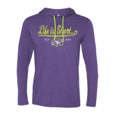 Life is Short Fly Now Long sleeve hooded Tee, Purple, L